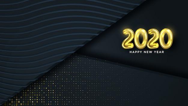Открытка с новым годом 2020 с абстрактным дизайном