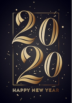 2020年。碑文と幸せな新年のグリーティングカード