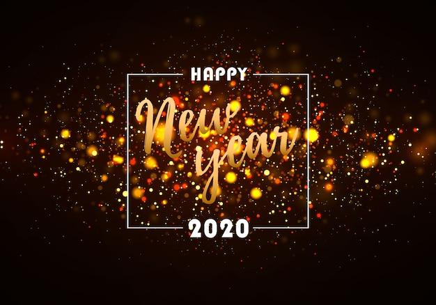 黄金色のライトとカラフルなボケの輝き。 2020年の新年。