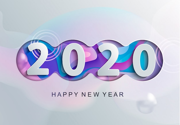 2020年のモダンなグリーティングカード。