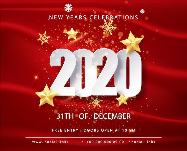Открытка с новым годом 2020 с рамкой конфетти на красный. счастливого рождества флаер или плакат