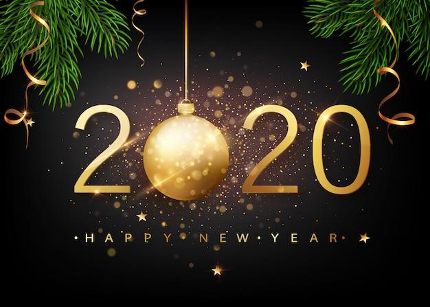 2020明けましておめでとうございます。落ちる光沢のある紙吹雪のグリーティングカードのゴールド番号。ゴールドの輝くパターン。