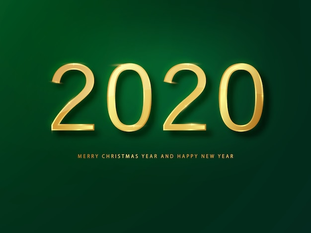 2020新年あけましておめでとうございますグリーティングカードゴールドと緑の背景。緑の新年の背景。