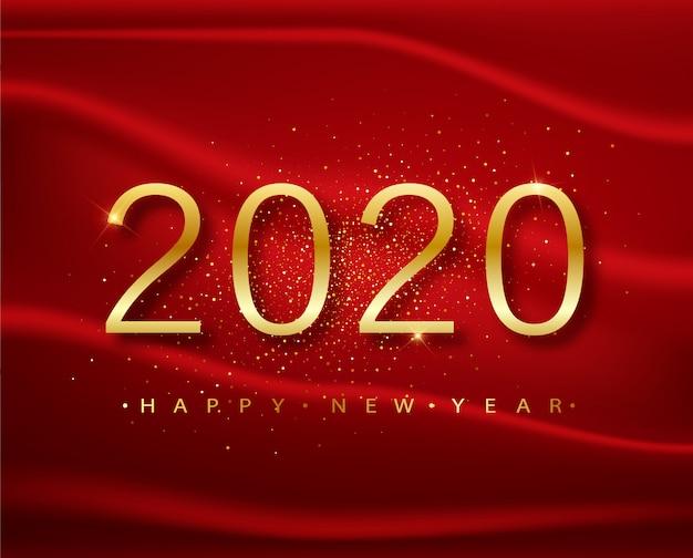 2020明けましておめでとうございます。赤のグリーティングカードのゴールド番号デザイン