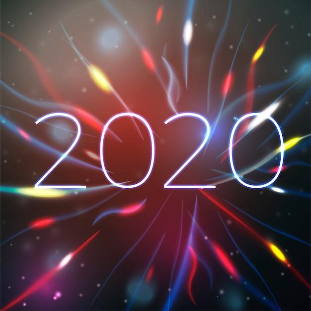 ぼやけたライトと明るいボケ背景に2020年新年イラスト