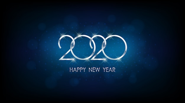 ヴィンテージの青い色の背景で抽象的なボケとレンズフレアパターンで銀の新年あけましておめでとうございます2020