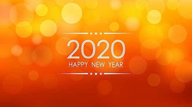 С новым годом 2020 с боке и объективом вспышки картины на фоне летнего оранжевого цвета