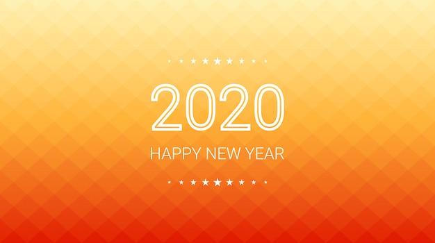 オレンジ色の正方形ポリゴン背景のグラデーションで幸せな新年2020