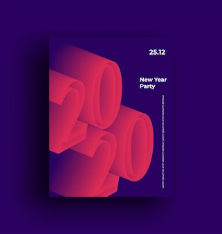 2020年新年あけましておめでとうございますパーティー最小限の現代広告ポスター