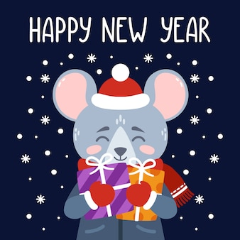 С новым годом 2020 векторная печать с милой крысой