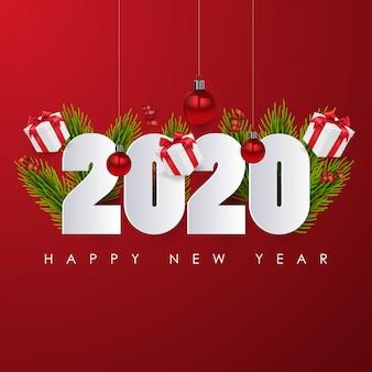 ハッピーニュー2020年。赤い背景のお祝いポスターまたはバナーデザイン