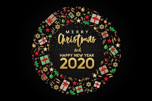 メリークリスマスと新年あけましておめでとうございます2020グリーティングカードサークル丸みを帯びた構成