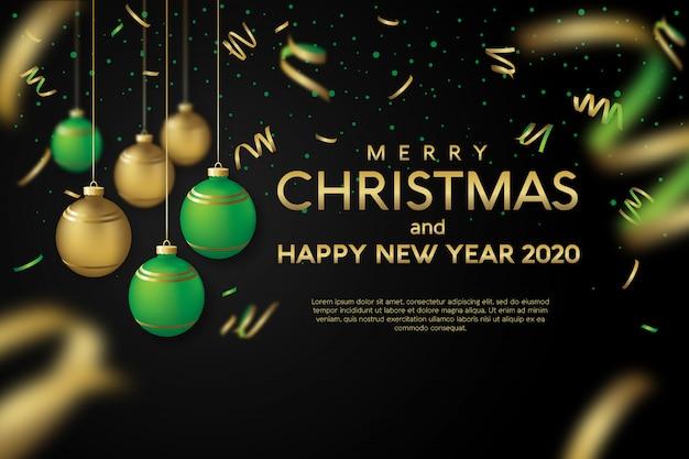 メリークリスマスと新年あけましておめでとうございます2020グリーティングカード