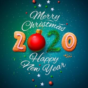 メリークリスマスと幸せな新年2020グリーティングカード、イラスト。