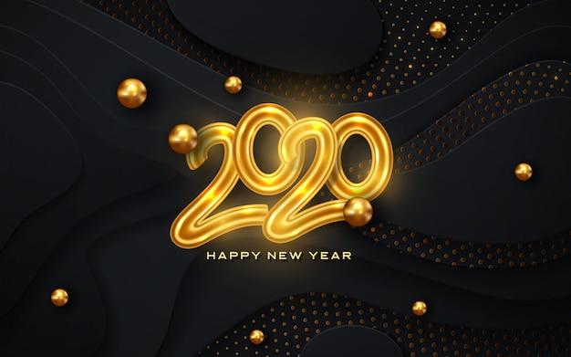 幸せな新しい2020年グリーティングカード、黒い色と黄金の効果