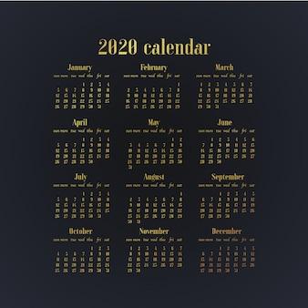 2020年のテンプレートの卓上カレンダーを単に設計します。