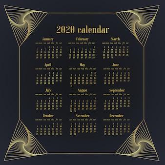 Просто дизайн настольного календаря 2020 года по шаблону. неделя начинается в воскресенье.