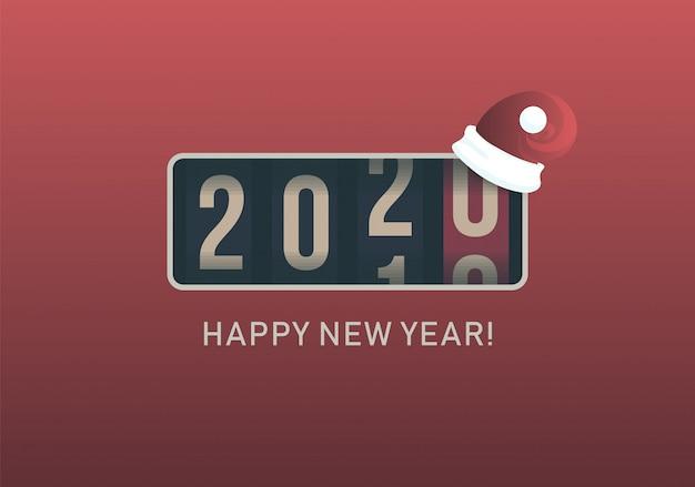 2020年。クリスマスサンタ帽子、レトロなスタイルのデザインとアナログカウンター表示。ベクトルイラスト。