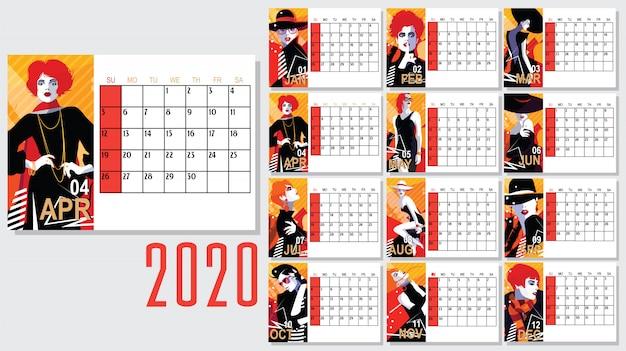 ファッション女性と2020年新年カレンダーのベクトル