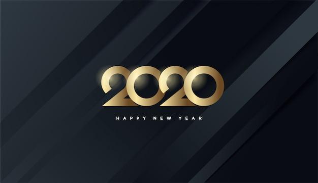 新年あけましておめでとうございます2020、金の数字黒背景