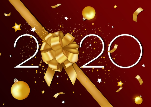 メリークリスマスと新年あけましておめでとうございます2020グリーティングカードとゴールデンリボンと星のポスター。