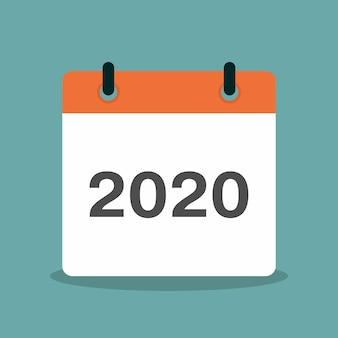 2020年のフラットなデザインイラストカレンダー