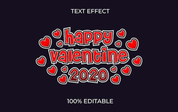 バレンタイン2020の編集可能なテキスト効果