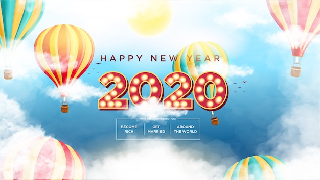 С новым годом 2020 стиль текстового фильма