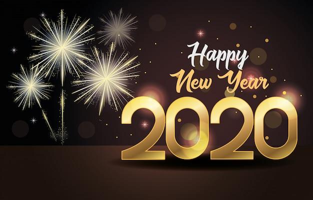 数字と花火で新年あけましておめでとうございます2020カード