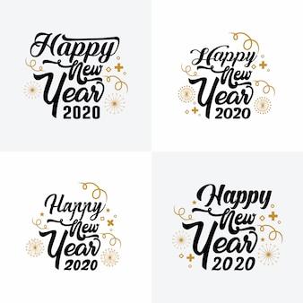 タイポグラフィ新年あけましておめでとうございます2020