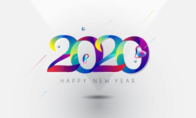 新年あけましておめでとうございます2020カラフルなスタイルをレタリング