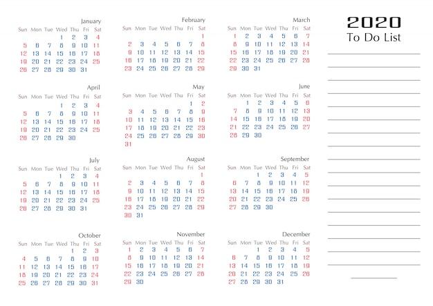 リストプランナーを行う単純な2020年カレンダーテンプレート年