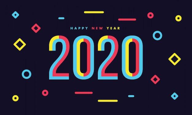 新しい年2020年暗い背景