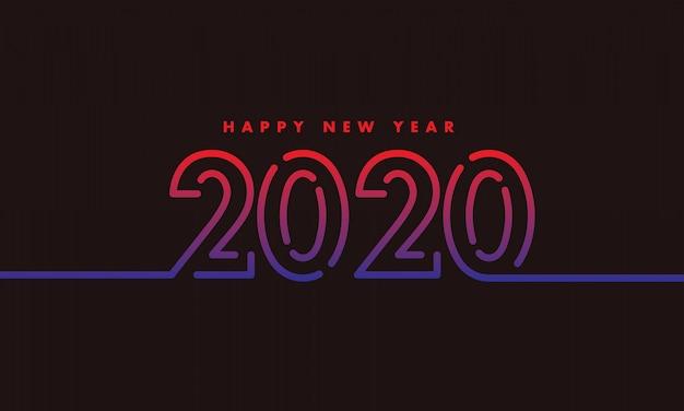 Новый год 2020 контурный дизайн темный фон