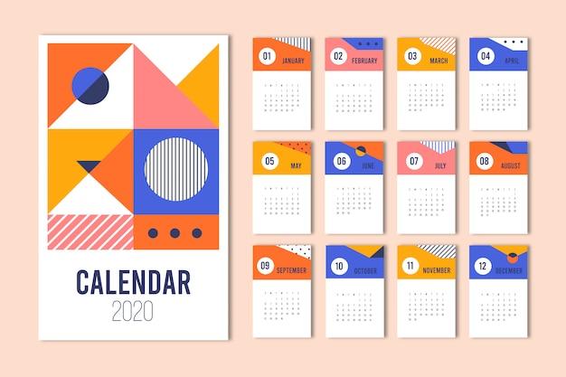 カラフルな抽象的なカレンダーテンプレート。カレンダーテンプレート2020。