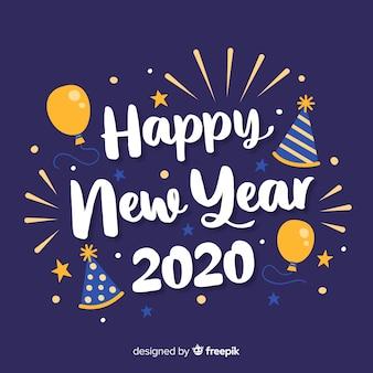 風船で幸せな新年2020をレタリング