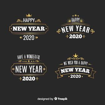 Коллекция этикеток винтажного нового года 2020