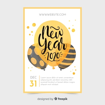 水彩新年2020パーティーポスターテンプレート