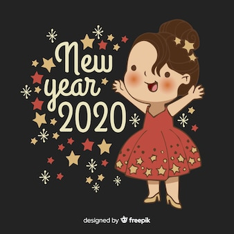 かわいい新年2020手描き