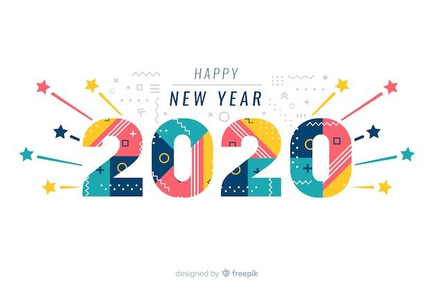 白い背景の上の幸せな新年2020