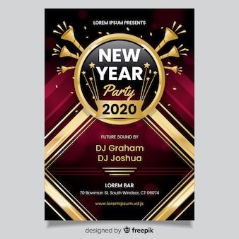 Плоский дизайн флаера для вечеринки нового года 2020