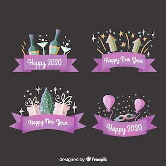 Акварель новый год 2020 этикетка и значок коллекции с фиолетовой лентой