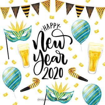 Красочная акварель нового года 2020