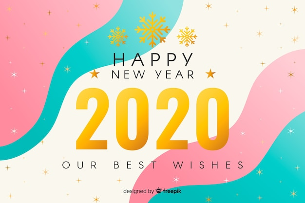 流体の背景を持つ黄金の新年2020