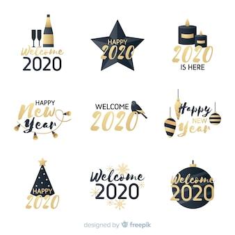 Набор плоских новогодних значков 2020