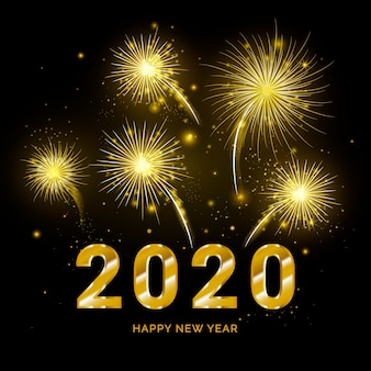Золотой фейерверк новый год 2020