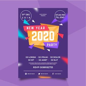 フラットデザイン新年2020パーティーポスター