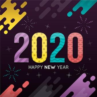 フラットデザインの新年2020年の壁紙