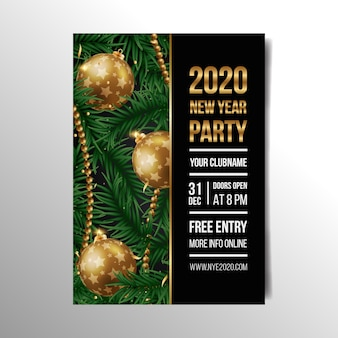 現実的な新年2020パーティーフライヤーテンプレート