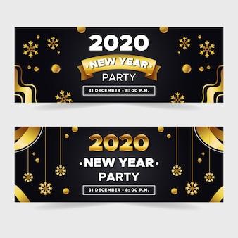 Плоский дизайн нового года 2020 баннеры